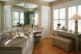 Striped Wallpaper Bathroom Cowhide Vanity Stools With Striped Wallpaper Bathroom Traditional