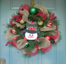 burlap and mesh christmas wreath snowman wreath by redrobynlane