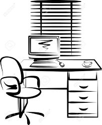 interior design outline sketch drawing of space office stock photo