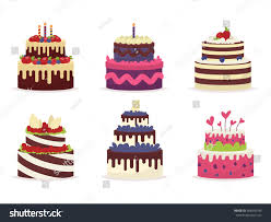 set beautiful cakes birthdays weddings anniversaries stock vector