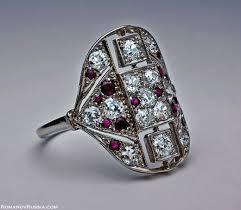 art deco rings platinum diamond ruby art deco ring antique