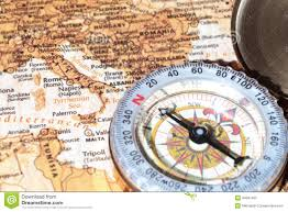 Naples Italy Map Travel Destination Italy Ancient Map With Vintage Compass Stock