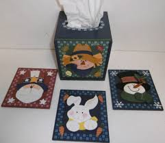 tissue box w 4 assorted themed front plates wooden decorative 4