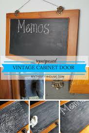 Repurpose Cabinet Doors Repurposed Vintage Cabinet Door Chalkboard My Thrifty House