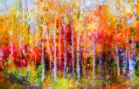 oil painting landscape colorful autumn trees semi abstract paintings image of forest aspen