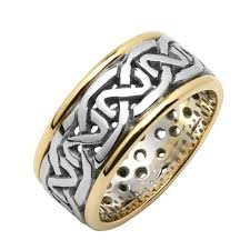 golden silver rings images Irish silver gold wedding ring celtic knots silver with14k trim jpg