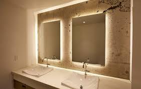 Lighted Bathroom Mirrors Backlit Lighted Bathroom Mirror New Home Design Lighted
