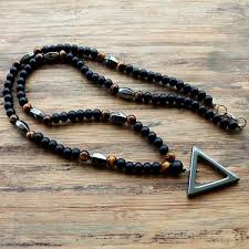 make necklace with stone images True energy tiger eye stone and hematite triangle pendant necklace jpg