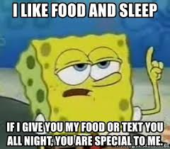 I Like Food Meme - i like food and sleep if i give you my food or text you all night