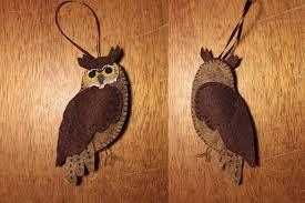 great horned owl felt ornament downeast thunder farm