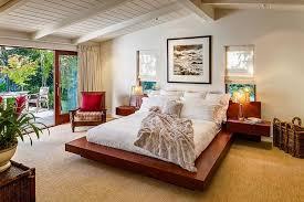 mid century modern bedroom light brown oak wood platform bed black