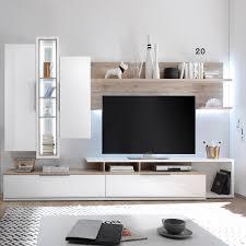 Wohnzimmerschrank Beige Wohnwand Salandra 5 Teilig Hochglanz Weiß Eiche Sanremo