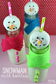 snowman milk bottles holiday kids food craft