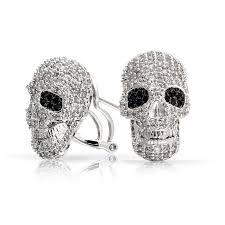 skull stud earrings black and white skull stud earrings omega back