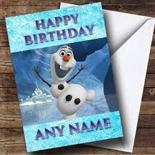 frozen snowman olaf personalised birthday card the card zoo