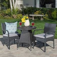 Grey Bistro Table Portola Outdoor 3 Grey Wicker Bistro Set With Cushions