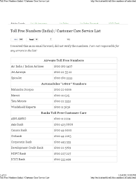 toll free numbers india customer care service list