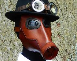 Halloween Gas Mask Costume Steampunk Leather Gas Mask Halloween Comicon Robot Horror