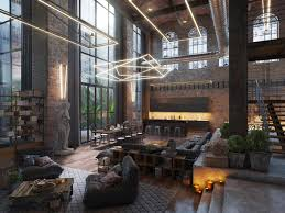 loft living room design with modern industrial style lofts loft