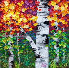 colourful autumn fall birch and aspen tree painting by contemporary canadian abstract landscape artist painter melissa mckinnon canadian autumn viii