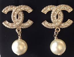 top earings chanel 2017 top gold cc pearl dangle dress earrings ebay