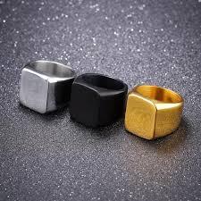 custom steel rings images Free custom engraving square face men 39 s plain statement rings in jpg