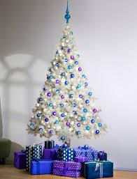 white christmas tree with blue decorations u2013 happy holidays