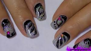 holographic nail polish and black 3 types of nail art design