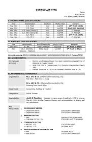Co Curricular Activities In Resume Sample by Resume Cv Sample Format Chartered Accountant Ca Mba Skool