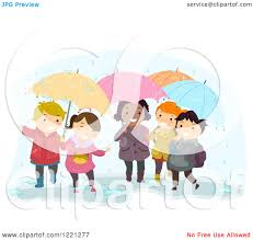 clipart of diverse children playing with umbrellas in the rain