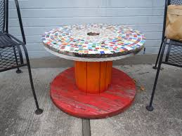 outdoor tables made out of wooden wire spools my mosaic table made from a wooden wire spool gardening