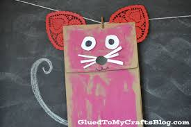 paper bag valentine mouse kid craft