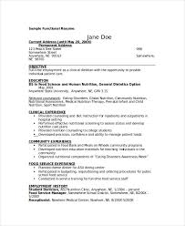 Sample Resume For Food Service by Dietitian Resume Template 6 Free Word Pdf Documents Download