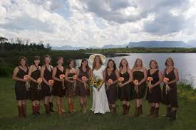 cute country bridesmaid dresses with boots