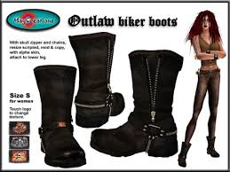 buy womens biker boots second life marketplace maycreations outlaw biker boots brown for