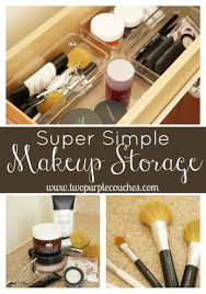 simple makeup storage solution two purple couches