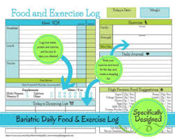 bariatric surgery weekly food exercise tracker weigh loss