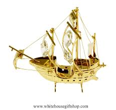 desktop gold santa ship desktop ornament swarovskiâ