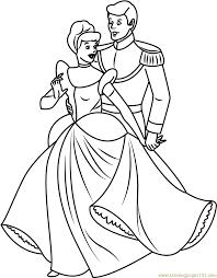 cinderella with prince coloring page free cinderella coloring