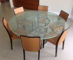 Dining Room Sets With Glass Table Tops Crackle Glass Dining Table With Tripod Metal Base Mortise