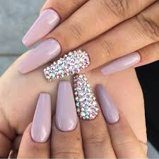 dusty pink gloss with swarovski crystal feature nails by