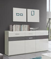 Wohnzimmerschrank Segm Ler Sideboard Kommode Valencia Korpus In Weiß Matt Front In Grau
