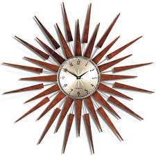 wall clocks modern brown clock with floating metal rectangles