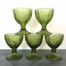 vintage green glasses wine goblets avocado jewel tone barware