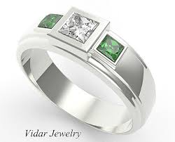 stone wedding rings images Three stone emerald wedding band for mens vidar jewelry unique png