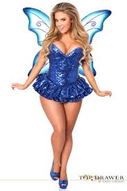 Halloween Costumes Size Drawer Size Premium Sequin Blue Fairy Corset Dress Costume