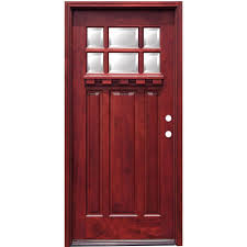 wood front door pacific entries 36 in x 80 in craftsman 6 lite stained mahogany