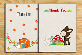 printable woodland baby shower thank you cards