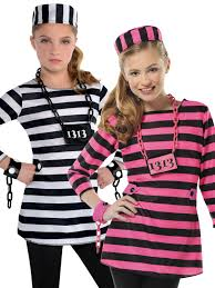 halloween costume robber childs girls prisoner costume teen convict robber fancy dress