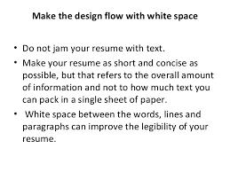 resume white space resume writting
